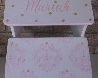 Pink Elephants, Damask, Childs Step Stool, Benches, Personalized gifts, Baby shower, Pink and Gold, Bathroom Stool, Pet stairs, Wooden steps