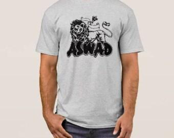Aswad   T shirt screen print short sleeve  heather gray  shirt cotton