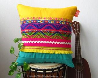 Unique Boho Throw Pillow Yellow - Beautiful Boho Turquoise Blue Vibrant Home Decor Cushion Cover