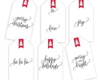 Christmas Gift Tags Printable, Holiday Gift Tags, Holiday Printable Gift Tag Labels, Holiday labels, Gift Wrapping Tags, Digital Download