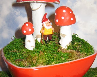 Handmade Vintage Paperclay Mushrooms in MCM Red Pyrex Hostess Bowl