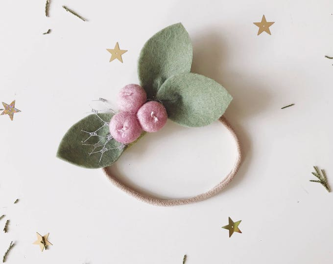 Featured listing image: Single Flower Headband or Alligator Clip // Rose Pink Buds Felt Flower