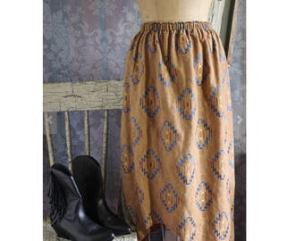 sz S / M Vintage 80's Native American Embroidered Dual Purpose Skirt Dress