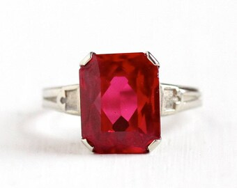 Sale - Vintage 10k White Gold Art Deco Created Ruby Ring - 1930s Size 4 1/4 Large Emerald Cut Red Pink Stone July Birthstone Fine Jewelry