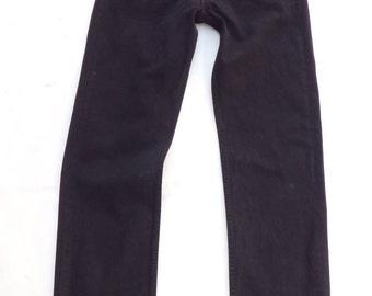 Vintage Black Denim LEVI'S 501 Button Fly Straight Men's Biker Jeans W 34 L 34  / Biker / Rock / Festival