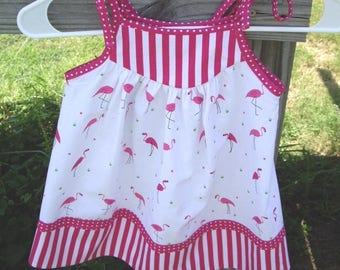 Little Girls Pink Flamingo With Pink and White Striped Border Sundress