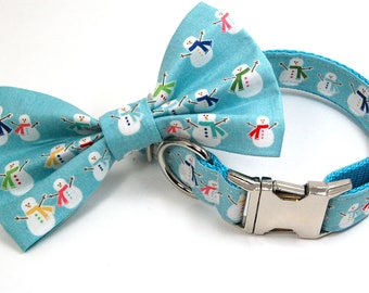 Handmade Dog Collar and Bow Tie Set - Happy Snow People - Custom Made Snowman Dog Collar with matching bowtie in light blue