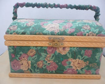 Padded Green Jacquard Fabric Sewing Chest with Scrolled Wood Trim