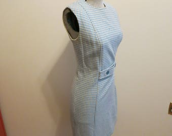 Bobbie Brooks dress plaid houndstooth blue white check MOD Jackie O M