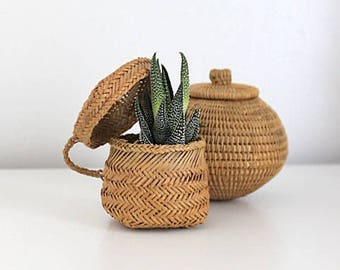 Vintage Mini Hand Woven Basket With Lid