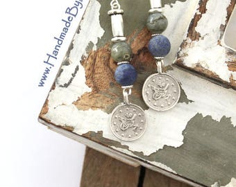 Beautiful Turkish Ottoman replica coin style dangle charms Gray and Blue beaded earrings Ethnic Boho Vintage inspired earrings by Inali