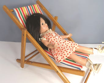 Vintage Folding Doll Beach Deck Chair, Wooden, 3 Positions, Folds Flat