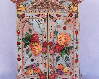 Bohemian, Standing Wooden Cabinet,  Embellished , Hand Painted, Decoupaged, Floral, Mexican Art
