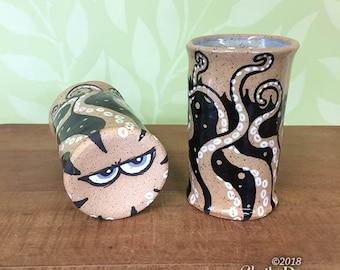 Kranky Kraken Cup - stoneware ceramic drinkware artwork fantasy tentacles octopus