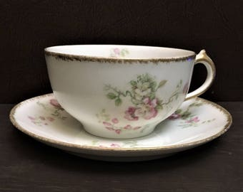 Antique GDA, CH Fields Haviland Limoges Teacup and Saucer