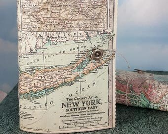 New York Map Travel Journal with Antique 1911 NYC Southern Part Detailed Map Cover