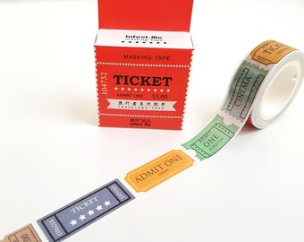 Ticket washi tape - colorful movie tickets planner tape scrapbook journal craft swap package organize stationery - Lillibon