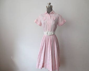 Vintage '50s Perfect Pink Cotton Pinstripe Shirtdress w/ Button Tab Details, XS, 32 - 34 Inch Bust