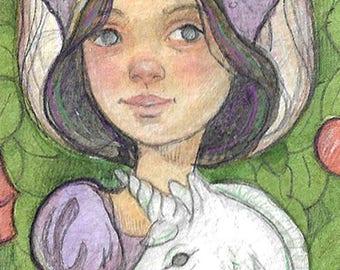 Princess and her Unicorn....Original aceo