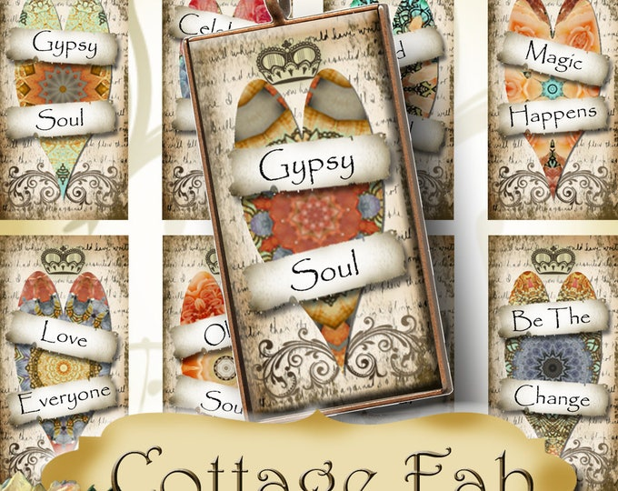 COTTAGE FAB•1x2 Love Heart Images•Printable Digital Images•Cards•Gift Tags•Stickers•Magnets•Digital Collage Sheet