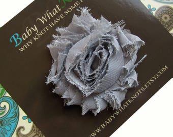 Grey Flower Hair Clip, Baby Silver Shabby Chic Hair Clippies, Flower Barrette