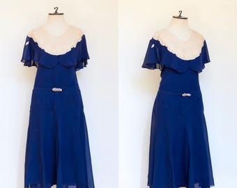 vintage 1920s royal blue and ivory evening dress   20s 30s deep blue and ivory lace flutter sleeve Art Deco gown   S