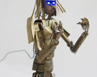Cyber frost robot sculpture metal action figure