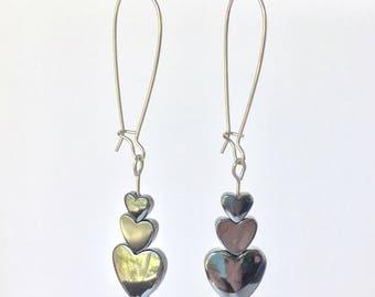Hematite heart ear wire earrings