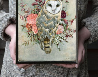 Barn Owl Print, Owl Pictures, Owl and Flowers Picture, Owl Gift Ideas, Owl Nursery Art, Rustic Owl Print, Urban Barn Owl Painting