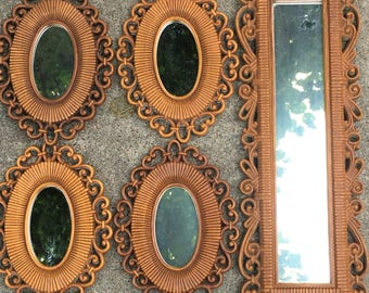 Sale ! Vintage Mirror Collection Lot of 5 Syroco Dart Homeco 1970s Faux Ratan Wicker