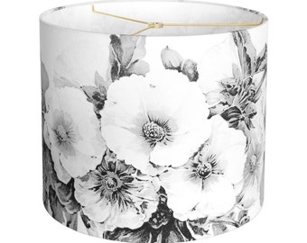 LARGE Linen Paris Nights Hollyhock Lamp Shade - Black and White Flower Lampshade - 13 14 15 Inch Drum Lamp Shade - Custom Made to Order