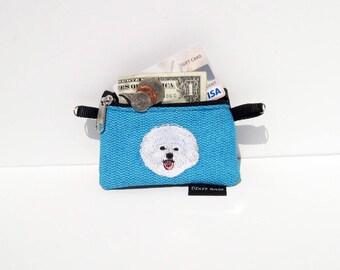 Bichon Frise Dog Coin Purse on Blue