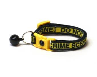 Trouble Maker Cat Collar - Crime Scene Do Not Cross- Small Cat / Kitten Size or Large Size