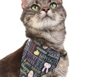 Pet Bandana - Happy Easter in Chalkboard Scribbles - Pet Scarf - Collar Cover - Easter