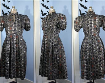 Novelty Print Vintage Womens 1980s does 1940s Dress Tribal Tiki Retro Style Modern Size Small Medium Handmade