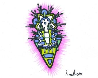 """lichen-11""""x8.5"""" original sharpie marker drawing"""