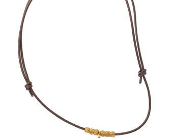 Leather Choker with Ring and Nugget Beads