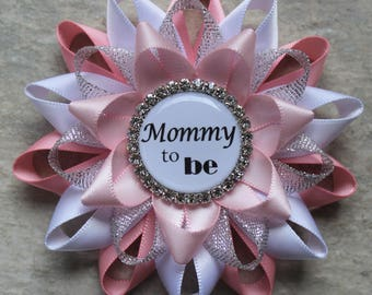Baby Shower Corsages, Mommy to Be Pin, Grandma to Be Ribbon, Pink, White, Silver, Pale Pink Baby Shower Decorations, Baby Girl, New Mom Gift