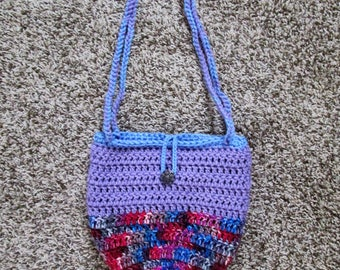 Fully lined crochet hobo purse, multi-color, metal filigree button and loop closure