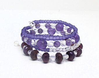 Purple Bracelet, Gemstone Jewelry, Multistrand Bracelet, Amethyst Jewelry, Purple February Birthday Gift for Her / One Size Fits Most