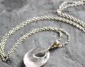 Unique Oval  Rose Quartz Necklace Pendant Pink Gemstone Sterling Silver