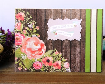 Handmade Rustic Wedding Card, Flowers, Ribbon, Barn, Today is Going to be Amazing, Green Brown Pink Off White, Blank Inside,Free US Shipping