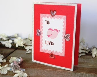 Handmade Valentine's Day Card, Pink and Red Hearts, Love, Unique, One of a Kind, Free US Shipping