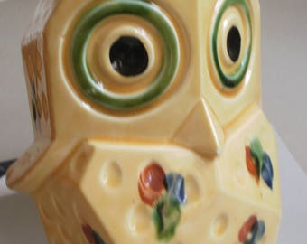 Vintage 1950s 60s OWL BANK Ceramic Butter Yellow with Olive Green Blue Rust Made in Japan Mid Century Owl Collectible