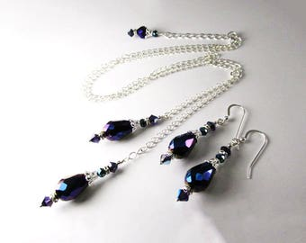 Blue Violet Crystal Staggering Double Drop Longer Necklace and Earring Set on Silver