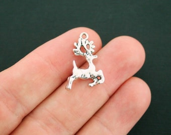 10 Reindeer Charms Antique Silver Tone 2 Sided - SC3305