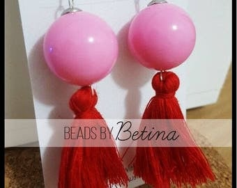 BEE//BOLD: Pink and Red Tassel Earrings