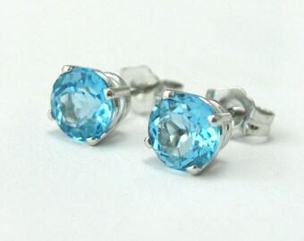 Blue Topaz Gold Stud Earrings, Gift for Her, Blue Topaz Earrings, Simple Earrings, Antique Blue Topaz Stud Earrings, Topaz Earrings,