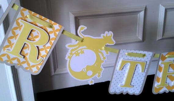 Over The Moon Baby Shower, Nursery Rhyme Banner, Hey Diddle Diddle Banner, Yellow, Grey and White