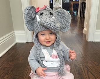 Elephant Hat - Baby Elephant Hat - Baby Hat - Elephant Costume Hat - Photo Prop Elephant - Baby Hats - Baby Halloween Costume  - by JoJo